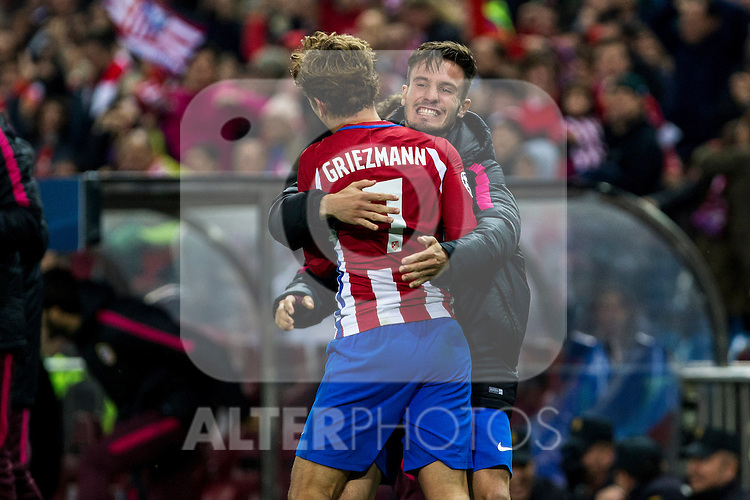 Atletico de Madrid's Antoine Griezmann  Saul Iniguez during the match of UEFA Champions League between Atletico de Madrid and FC Rostov, at Vicente Calderon Stadium,  Madrid, Spain. November 01, 2016. (ALTERPHOTOS/Rodrigo Jimenez)