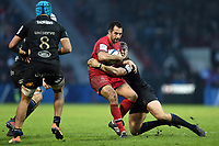 Sofiane Guitoune of Toulouse is tackled by Jack Walker of Bath Rugby. Heineken Champions Cup match, between Stade Toulousain and Bath Rugby on January 20, 2019 at the Stade Ernest Wallon in Toulouse, France. Photo by: Patrick Khachfe / Onside Images
