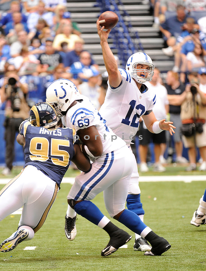 ANDREW LUCK (12),  of the Indianapolis Colts in action during the Colts preseason game against the St. Louis Rams on August 12, 2012 at Lucas Oil Stadium in Indianapolis, IN. The Colts beat the Rams 38-3.