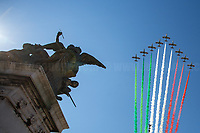 """Frecce Tricolori, the Italian Aerobatic Team.<br /> <br /> Rome, 02/06/2019. Today, Italy celebrated the annual """"Festa Della Repubblica"""" (Republic Day, 1.). The 73rd Anniversary of the Italian Republic (*) was marked with the """"Raising the Flag Ceremony"""" and the tribute to the Sacello del Milite Ignoto (Unknown Soldier) at the Altare della Patria """"Vittoriano"""" (2.) by the President of the Italian Republic Sergio Mattarella, followed by the traditional army, veterans and civilians parade along Via Dei Fori Imperiali. This year, the President of the Republic was accompanied by the Defence Minister Elisabetta Trenta, the Italian Prime Minister Giuseppe Conte, the Presidents of the two Chambers of the Parliament, Roberto Fico and Maria Elisabetta Alberti Casellati, several members of the Italian Government, political leaders, senior officers of the Armed Forces and representatives of the Civilian Organizations. At the end of the events the Frecce Tricolori, the Italian Aerobatic Team, coloured the sky over Rome with the Tricolore (Tricolour: Green, White, Red) of the Italian Flag. The theme for this year's event was inclusiveness. <br /> <br /> Footnotes and Links:<br /> (*) The Referendum was held on 2 June 1946 and it marked the decision made by the Italian people to adopt the Republic as the new institutional form for the Country. <br /> 1. http://bit.do/eT8By (ITA) & http://bit.do/eT8Bv (ENG) at https://www.difesa.it/<br /> 2. http://bit.do/eT8BG (Wikipedia)"""