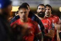 Josh Strauss and the rest of the Sale Sharks team leave the field after the match. Gallagher Premiership match, between Bath Rugby and Sale Sharks on December 2, 2018 at the Recreation Ground in Bath, England. Photo by: Patrick Khachfe / Onside Images