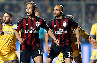Keisuke Honda  and Alex  during   Italian Serie A soccer match between Frosinone and AC Milan  at Matusa  Stadium in Frosinone ,December 20  , 2015