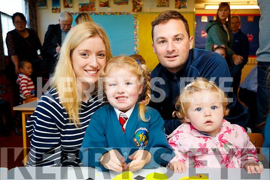 Eva O'Sullivan, with sister Fiadh  and parents Sarah Mulcahy, Fergal O'Sullivan at Scoil Eoin Balloonagh, Tralee, on Wednesday morning last.