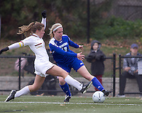 Hofstra University forward Kayla Pifer (13) attempts to control the ball as Boston College defender Hannah Cerrone (11) pressures. Boston College defeated Hofstra University, 3-1, in second round NCAA tournament match at Newton Soccer Field, Newton, MA.