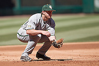 Baylor Bears third baseman Cal Towey #18 on defense during the NCAA baseball game against the California Golden Bears on March 1st, 2013 at Minute Maid Park in Houston, Texas. Baylor defeated Cal 9-0. (Andrew Woolley/Four Seam Images).