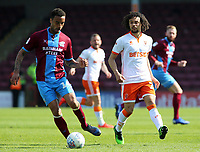Blackpool's Nya Kirby chases down Scunthorpe United's James Perch<br /> <br /> Photographer David Shipman/CameraSport<br /> <br /> The EFL Sky Bet League One - Scunthorpe United v Blackpool - Friday 19th April 2019 - Glanford Park - Scunthorpe<br /> <br /> World Copyright © 2019 CameraSport. All rights reserved. 43 Linden Ave. Countesthorpe. Leicester. England. LE8 5PG - Tel: +44 (0) 116 277 4147 - admin@camerasport.com - www.camerasport.com