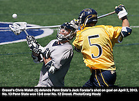 Drexel's Chris Walsh (5) against Penn State's Jack Forster on April 6, 2013. Photo/Craig Houtz