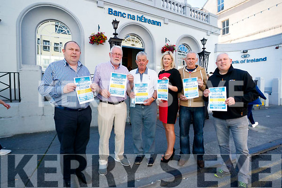 Pictured at a protest outside Bank of Ireland, Tralee on Friday last, over the proposed idea of removing the option of the Irish language from ATM machines, l-r: Des Teahan, Martin Ferris, Robert Beasley, Toiréasa Ferris, Gerard Collins and John Buckley