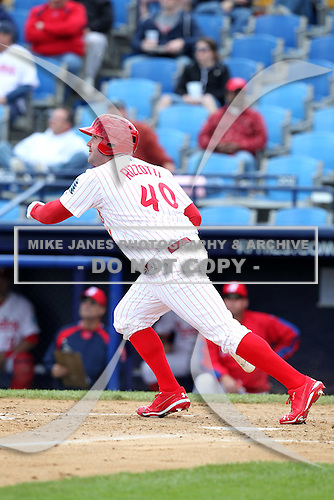 Reading Phillies first baseman Matt Rizzotti #40 hits a home run during a game against the New Hampshire Fisher Cats at FirstEnergy Stadium on May 5, 2011 in Reading, Pennsylvania.  New Hampshire defeated Reading by the score of 10-5.  Photo By Mike Janes/Four Seam Images