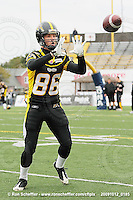 October 12, 2009; Hamilton, ON, CAN; Hamilton Tiger-Cats wide receiver Matt Carter (86). CFL football: Winnipeg Blue Bombers vs. Hamilton Tiger-Cats at Ivor Wynne Stadium. The Blue Bombers defeated the Tiger-Cats 38-28. Mandatory Credit: Ron Scheffler. Copyright (c) 2009 Ron Scheffler.