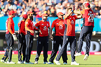 England's Liam Plunkett celebrates with Jason Roy after taking the wicket of Australia's D'Arcy Short (not shown)<br /> <br /> Photographer Andrew Kearns/CameraSport<br /> <br /> Only IT20 - Vitality IT20 Series - England v Australia - Wednesday 27th June 2018 - Edgbaston - Birmingham<br /> <br /> World Copyright &copy; 2018 CameraSport. All rights reserved. 43 Linden Ave. Countesthorpe. Leicester. England. LE8 5PG - Tel: +44 (0) 116 277 4147 - admin@camerasport.com - www.camerasport.com