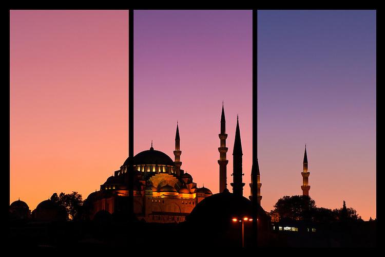 Suleymaniye Sundown Triptych 02 - Suleymaniye Mosque and Rustem Pasa Mosque at sundown, from Eminonu, Istanbul, Turkey. A combination of three shots, each taken five minutes apart at sundown.