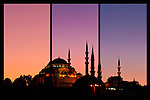 Suleymaniye Sundown Triptych 02 - Suleymaniye Mosque and Rustem Pasa Mosque at sundown, from Eminonu, Istanbul, Turkey. A combination of three shots, each taken five minutes apart at sundown.