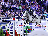 OMAHA, NEBRASKA - APR 1: Christian Heineking rides NKH Calango during the International Omaha Jumping Grand Prix at the CenturyLink Center on April 1, 2017 in Omaha, Nebraska. (Photo by Taylor Pence/Eclipse Sportswire/Getty Images)