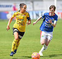 20190807 - DENDERLEEUW, BELGIUM : LSK's Ingrid Moe Wolde (left) pictured with Linfield's Kirsty McGuinness (right) during the female soccer game between the Norwegian LSK Kvinner Fotballklubb Ladies and the Northern Irish Linfield ladies FC , the first game for both teams in the Uefa Womens Champions League Qualifying round in group 8 , Wednesday 7 th August 2019 at the Van Roy Stadium in Denderleeuw  , Belgium  .  PHOTO SPORTPIX.BE for NTB  | DAVID CATRY