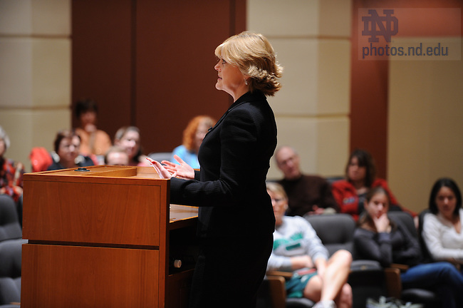 Anne Thompson speaks at the Jordan Auditorium as part of the Ten Years Hence lecture series.