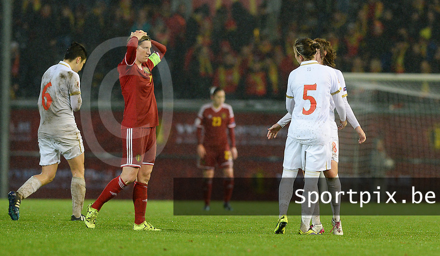 20151130 - LEUVEN ,  BELGIUM : Belgian Aline Zeler pictured disappointed after Belgians 1-1 in  the female soccer game between the Belgian Red Flames and Serbia , the third game in the qualification for the European Championship in The Netherlands 2017  , Monday 30 November 2015 at Stadion Den Dreef  in Leuven , Belgium. PHOTO DAVID CATRY