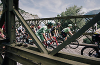 Michael Matthews (AUS/Sunweb) riding over a narrow old bridge in the neutralised section of the race<br /> <br /> 104th Tour de France 2017<br /> Stage 19 - Embrun &rsaquo; Salon-de-Provence (220km)