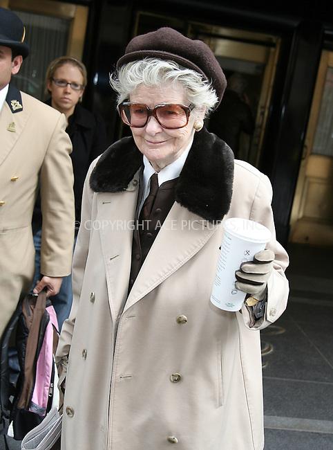 WWW.ACEPIXS.COM . . . . .  ....April 3 2008, New York City....Actress Elaine Stritch leaves the Carlisle Hotel....Please byline: PHILIP VAUGHAN - ACEPIXS.COM.... *** ***..Ace Pictures, Inc:  ..tel: (646) 769 0430..e-mail: info@acepixs.com..web: http://www.acepixs.com