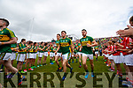 Jonathan Lyne, Kevin McCarthy, Michael Geaney Kerry team takes to the field before the Munster Senior Football Final at Fitzgerald Stadium on Sunday.