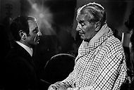 """October 28th, 1966. Hotel Waldorf Astoria, Manhattan, NYC. Charles Aznavour and Maurice Chevalier after his performance at the Show """"April in Paris""""."""