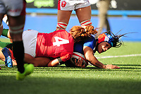 Safi N'Diaye of France scores her sides fourth try during the Women's Six Nations Championship Round 3 match between Wales and France at the Cardiff Arms Park in Cardiff, Wales, UK. Sunday 23 February 2020