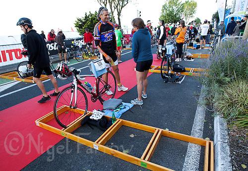 18 SEP 2011 - LA BAULE, FRA - Flat bike racking at the Triathlon Decouverte (sprint distance) at the 24th Triathlon Audencia in La Baule, France (PHOTO (C) NIGEL FARROW)