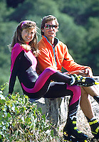 Model Kathy Ireland and husband Greg Olsen roller blading in Santa Barbara, California, July, 1989. Photo by John G. Zimmerman.