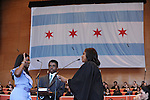 Chicago Treasurer Stephanie Neely is sworn in by Cook County Circuit Court Judge Shelli William-Hayes in Millennium Park in Chicago, Illinois on May 16, 2011.