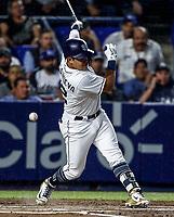 Christian Villanueva de San Diego, durante el partido de beisbol de los Dodgers de Los Angeles contra Padres de San Diego, durante el primer juego de la serie las Ligas Mayores del Beisbol en Monterrey, Mexico el 4 de Mayo 2018.<br /> (Photo: Luis Gutierrez)