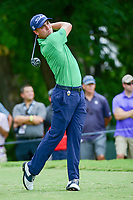 Justin Thomas (USA) watches his tee shot on 5 during Friday's round 2 of the PGA Championship at the Quail Hollow Club in Charlotte, North Carolina. 8/11/2017.<br /> Picture: Golffile | Ken Murray<br /> <br /> <br /> All photo usage must carry mandatory copyright credit (&copy; Golffile | Ken Murray)