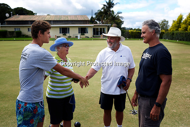HOWICK, SOUTH AFRICA APRIL 6: Sixteen-year-old swimmer Michael Andrew play lawn bowling with his parents and grand parents on April 6, 2015 in Howick, Natal, South Africa. Michael has broken many records already and he is seen as the new Michael Phelps. He turned pro at 14 after signing his first endorsement deal. Peter, his father trains Michael and he grew up in the US. His parents emigrated from South Africa and he spent some time in the country in April 2015 to visit his grandparents. (Photo by: Per-Anders Pettersson)
