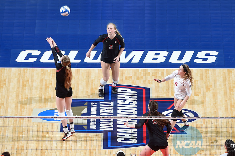 COLUMBUS, OH - DECEMBER 17:  Jenna Gray (1) of Stanford University hits a dig against the University of Texas during the Division I Women's Volleyball Championship held at Nationwide Arena on December 17, 2016 in Columbus, Ohio.  Stanford defeated Texas 3-1 to win the national title. (Photo by Jamie Schwaberow/NCAA Photos via Getty Images)