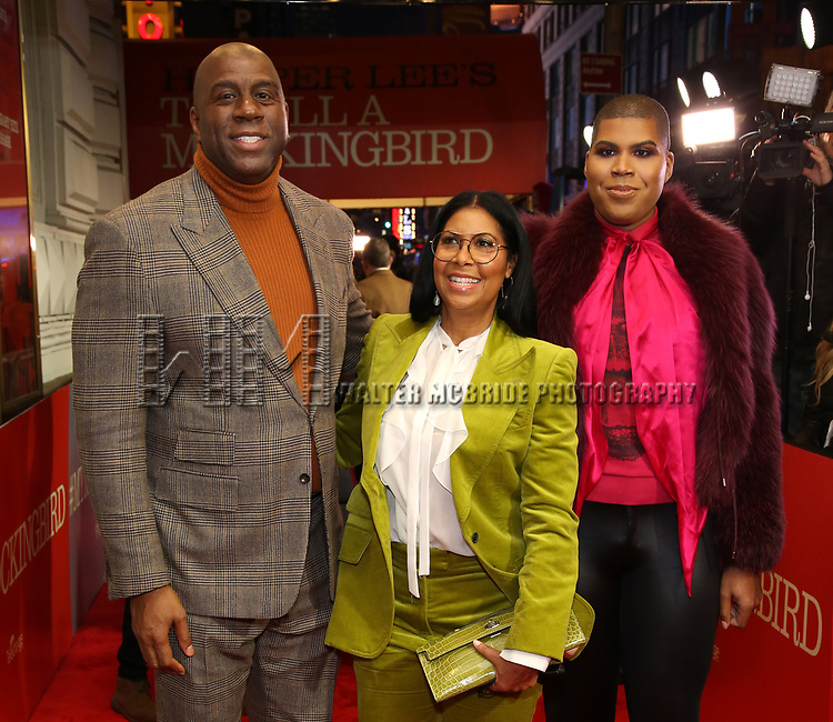 """Earvin Magic Johnson, Cookie Johnson, EJ Johnson attends the Broadway Opening Night Performance of """"To Kill A Mockingbird"""" on December 13, 2018 at The Shubert Theatre in New York City."""