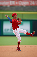 Clearwater Threshers shortstop Emmanuel Marrero (33) throws during the first game of a doubleheader against the Lakeland Flying Tigers on June 14, 2017 at Spectrum Field in Clearwater, Florida.  Lakeland defeated Clearwater 5-1.  (Mike Janes/Four Seam Images)