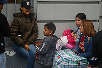 Venezuelans leave their embassy in Lima, Peru, in their repatriation journey back to Caracas. A flow of Venezuelans arrived in the last years to all Latin American countries fleeing from hunger and poor living conditions in their homeland. Nicolas Maduro president, in a move critized as propaganda, is repatriating some citizens that couldn't settle in other countries.