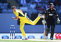 Australian bowler Mitchell Starc. International One Day Cricket. New Zealand Black Caps v Australia. Chappell–Hadlee Trophy, Game 1. Eden Park Monday 30 January 2017 © Copyright photo: Andrew Cornaga / www.photosport.nz
