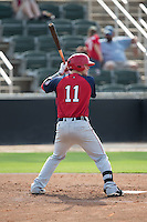 Conor Keniry (11) of the Hagerstown Suns at bat against the Kannapolis Intimidators at CMC-Northeast Stadium on August 16, 2015 in Kannapolis, North Carolina.  The Suns defeated the Intimidators 7-2 in game one of a double-header.  (Brian Westerholt/Four Seam Images)