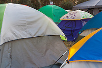 "A sea of tents at Occupy Orange County, including one labeled ""Free your mind"" ""A"" and ""Occupy Together""."