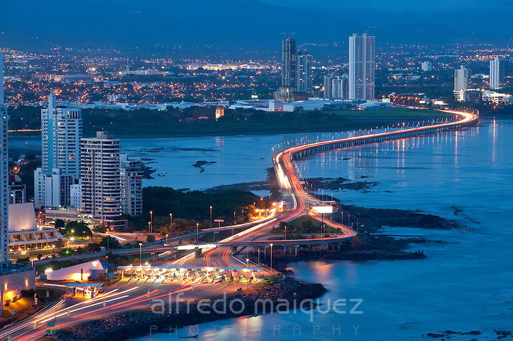 Early night view of Marine section of South Corridor. Panama City, Panama, Central America.