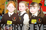 Enjoying their first day at Lissivigeen National School on Monday were Clodagh O'Connor, Sarah O'Leary and Clodagh Sheehan.   Copyright Kerry's Eye 2008