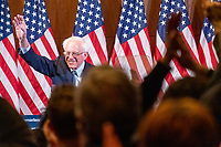 "Democratic presidential candidate and Vermont senator Bernie Sanders waves to the crowd after delivering his response to President Donald Trump's State of the Union address earlier that night at The Currier Museum of Art in Manchester, New Hampshire, on Tue., Feb. 4, 2020. Sanders' speech began, ""Tonight, we just listened to Donald Trump's third, and what I believe will be his very last, State of the Union Address."""