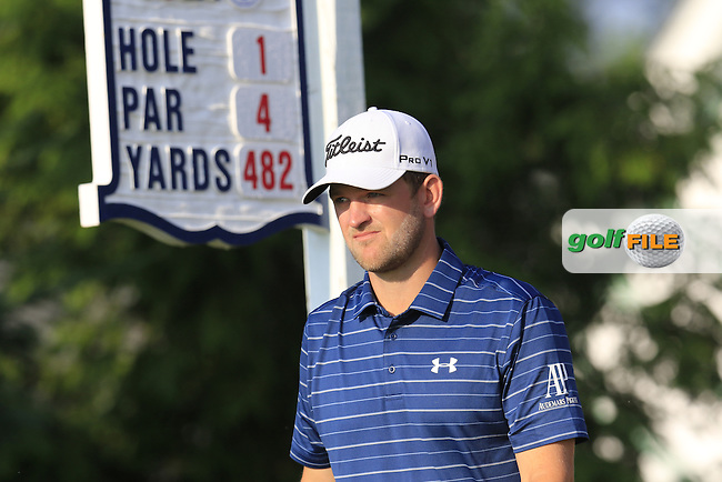 Bernd Wiesberger (AUT) walks off the 1st tee to start his match during Thursday's Round 1 of the 2016 U.S. Open Championship held at Oakmont Country Club, Oakmont, Pittsburgh, Pennsylvania, United States of America. 16th June 2016.<br /> Picture: Eoin Clarke | Golffile<br /> <br /> <br /> All photos usage must carry mandatory copyright credit (&copy; Golffile | Eoin Clarke)
