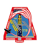 "Houston, TX - (FILE) -- File image from September, 2008.  The shape of the STS-119/15A patch comes from the shape of a solar array viewed at an angle. The International Space Station (ISS), which is the destination of the mission, is placed accordingly in the center of the patch just below the gold astronaut symbol. The gold solar array of the ISS highlights the main cargo and task of STS-119/15A -- the installation of the S6 truss segment and deployment of S6's solar arrays, the last to be delivered to the ISS. The surnames of the crew members are denoted on the outer band of the patch. The 17 white stars on the patch represent, in the crew's words, ""the enormous sacrifice the crews of Apollo 1, Challenger, and Columbia have given to our space program."" The U.S. flag flowing into the space shuttle signifies the support the people of the United States have given our space program over the years, along with pride the U.S. astronauts have in representing the United States on this mission. The NASA insignia for design for shuttle flights is reserved for use by the astronauts and for other official use as the NASA Administrator may authorize. Public availability has been approved only in the form of illustrations by the various news media. When and if there is any change in this policy it will be publicly announced..Credit: NASA via CNP"