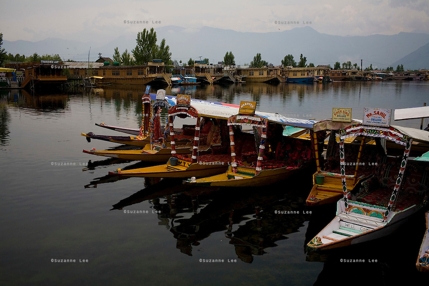 Shikaras moored in wait of customers. Travel photographs of Srinagar, Kashmir, Jammu & Kashmir, India on 8th June 2009.  Photo by Suzanne Lee /  For The National