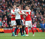 Arsenal's Granit Xhaka and Mesut Ozil argue with Tottenham's Jan Vertonghen during the Premier League match at the Emirates Stadium, London. Picture date November 6th, 2016 Pic David Klein/Sportimage