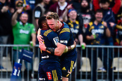 June 3rd 2017, AMI Stadium, Christchurch, New Zealand; Super Rugby; Crusaders versus Highlanders;  Waisake Naholo of the Highlanders celebrates his try with Gareth Evans of the Highlanders the Highlanders during the Super Rugby match