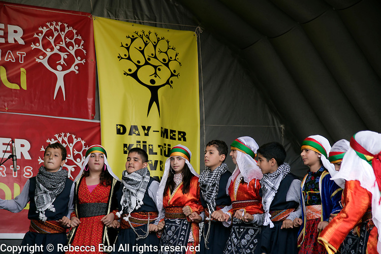 Turkish folkdancing by children at the Day-Mer Festival 2009 at Clissold Park, Hackney, London, UK