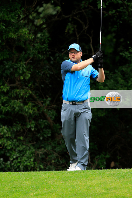 Sean Donaghy on the 8th tee during round 2 of the Leinster Mid Amateur Open Championship in Grange Golf Club on Friday 8th August 2014.<br /> Picture:  Thos Caffrey / www.golffile.ie