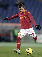 Calcio, ottavi di finale di Coppa Italia: Roma vs Atalanta. Roma, stadio Olimpico, 11 dicembre 2012..AS Roma forward Nico Lopez, of Uruguay, kicks the ball during their Italy Cup last-16 tie football match between AS Roma and Atalanta at Rome's Olympic stadium, 11 december 2012. .UPDATE IMAGES PRESS/Riccardo De Luca